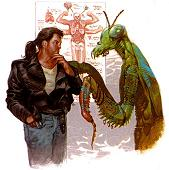 Man talking to giant mantis creature